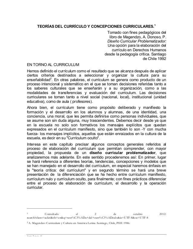 TEORÍAS DEL CURRÍCULO Y CONCEPCIONES CURRICULARES.1                                                                 Tomado...