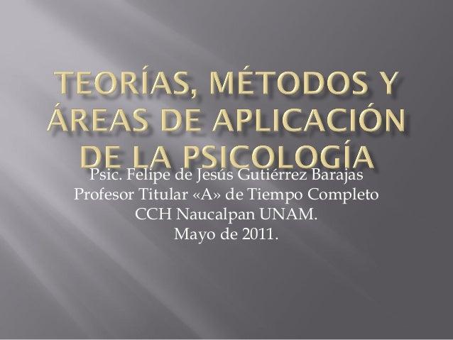 Psic. Felipe de Jesús Gutiérrez Barajas Profesor Titular «A» de Tiempo Completo CCH Naucalpan UNAM. Mayo de 2011.