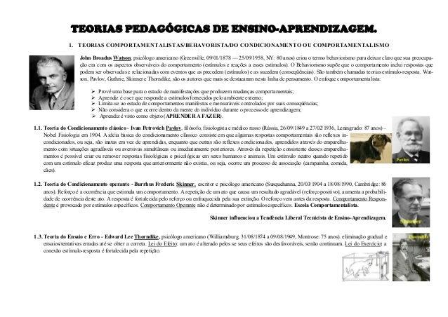 TEORIAS PEDAGÓGICAS DE ENSINO-APRENDIZAGEM. 1. TEORIAS COMPORTAMENTALISTAS/BEHAVORISTA/DO CONDICIONAMENTO OU COMPORTAMENTA...