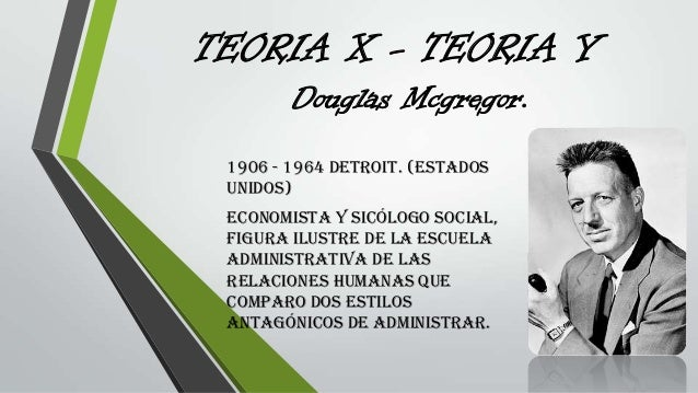 TEORIA X - TEORIA Y 1906 - 1964 Detroit. (Estados Unidos) Economista y Sicólogo social, Figura ilustre de la escuela admin...