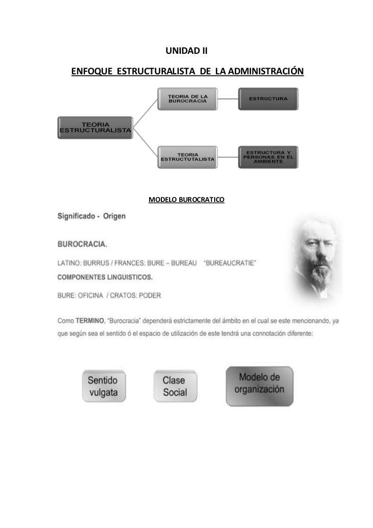 UNIDAD IIENFOQUE ESTRUCTURALISTA DE LA ADMINISTRACIÓN              MODELO BUROCRATICO