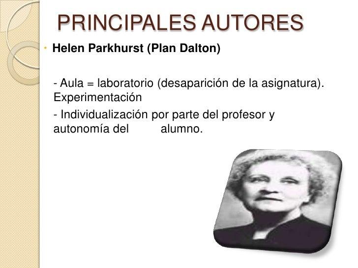 PRINCIPALES AUTORES Helen Parkhurst (Plan Dalton) - Aula = laboratorio (desaparición de la asignatura). Experimentación -...