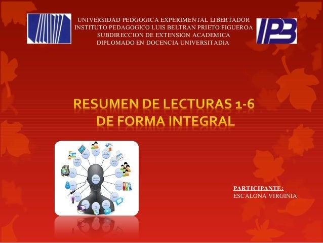 UNIVERSIDAD PEDGOGICA EXPERIMENTAL LIBERTADOR INSTITUTO PEDAGOGICO LUIS BELTRAN PRIETO FIGUEROA SUBDIRECCION DE EXTENSION ...