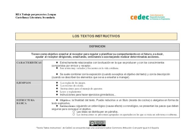 """REA Trabajo por proyectos.Lengua Castellana y Literatura. Secundaria """"Teoría Textos instructivos"""", de CeDeC se encuentra b..."""