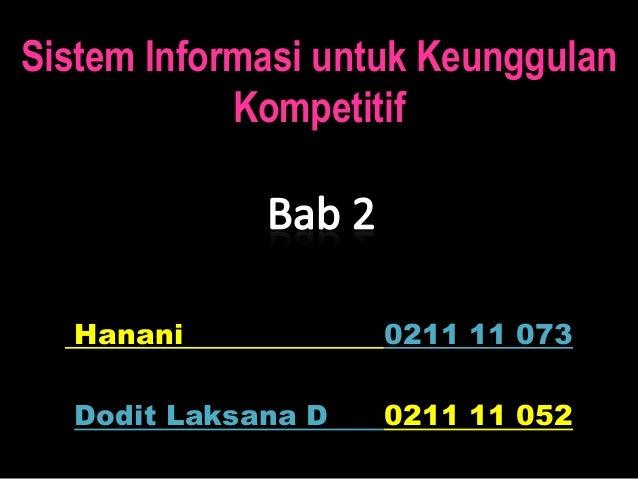 Sistem Informasi untuk Keunggulan            Kompetitif  Hanani            0211 11 073  Dodit Laksana D   0211 11 052