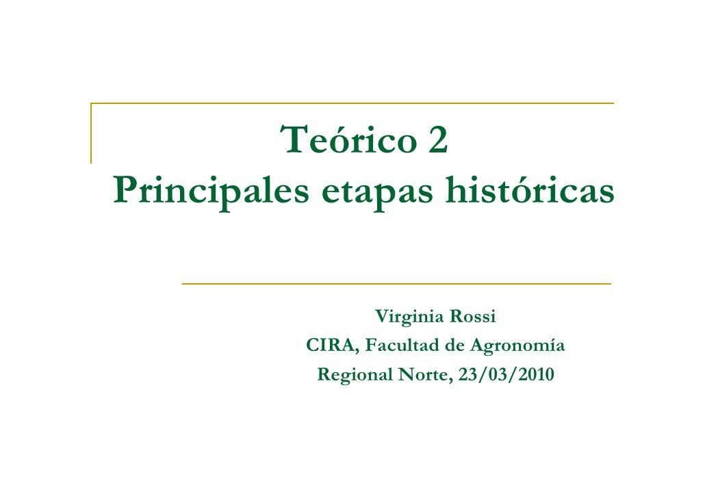 Teórico 2 Principales etapas históricas                    Virginia Rossi            CIRA, Facultad de Agronomía          ...