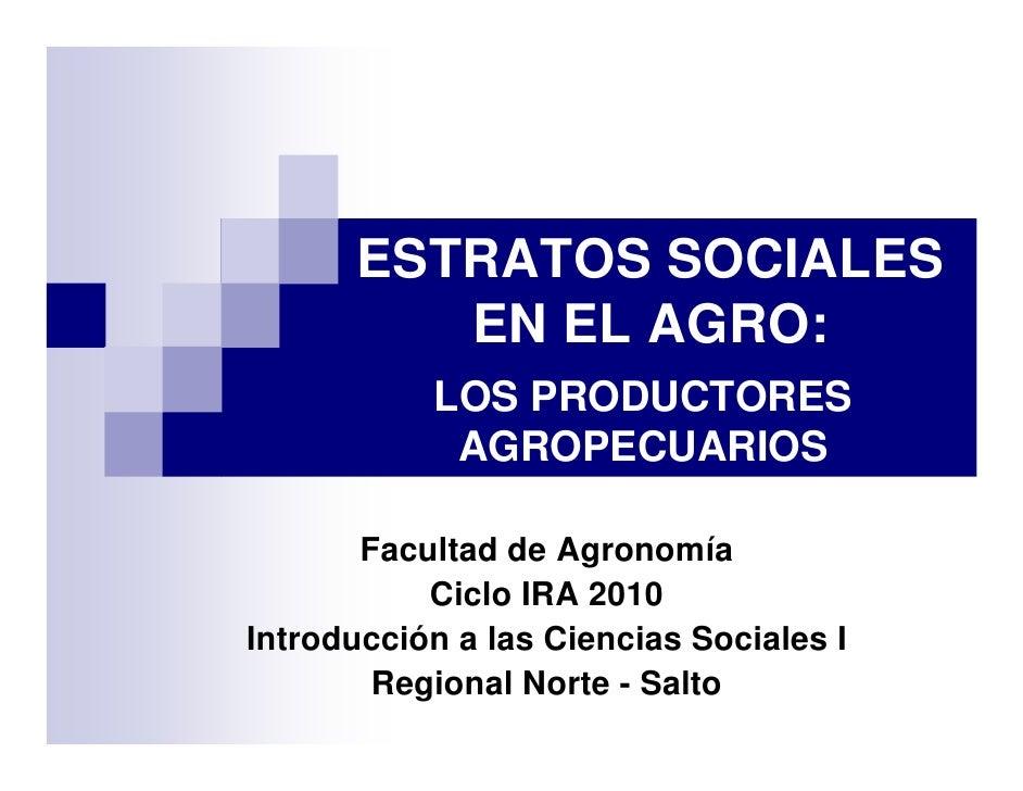 ESTRATOS SOCIALES          EN EL AGRO:            LOS PRODUCTORES             AGROPECUARIOS         Facultad de Agronomía ...