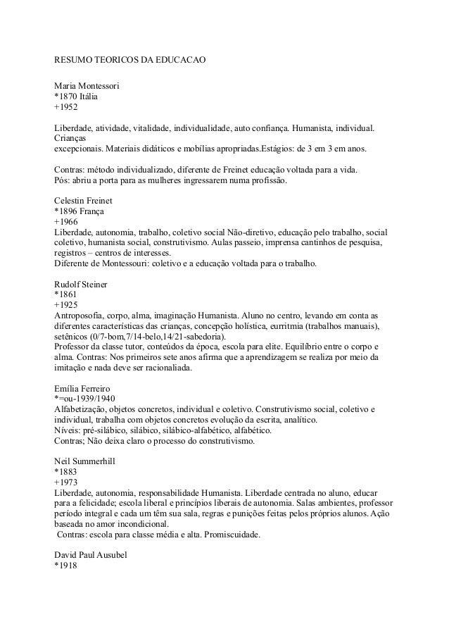 RESUMO TEORICOS DA EDUCACAO Maria Montessori *1870 Itália +1952 Liberdade, atividade, vitalidade, individualidade, auto co...