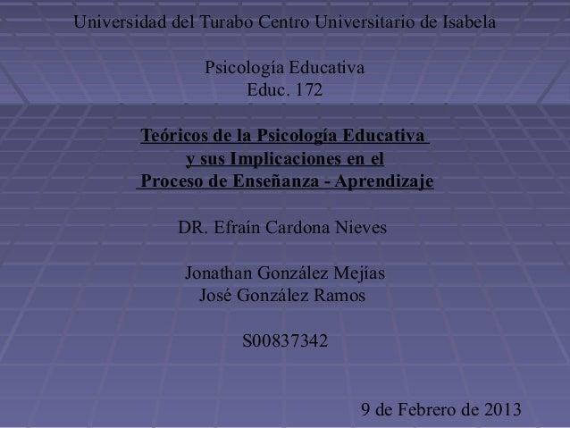 Universidad del Turabo Centro Universitario de IsabelaPsicología EducativaEduc. 172Teóricos de la Psicología Educativay su...