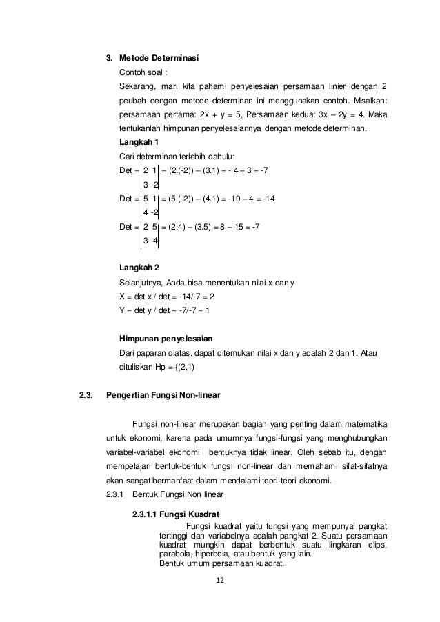 Contoh Soal Fungsi Linear Matematika Dan Jawabannya