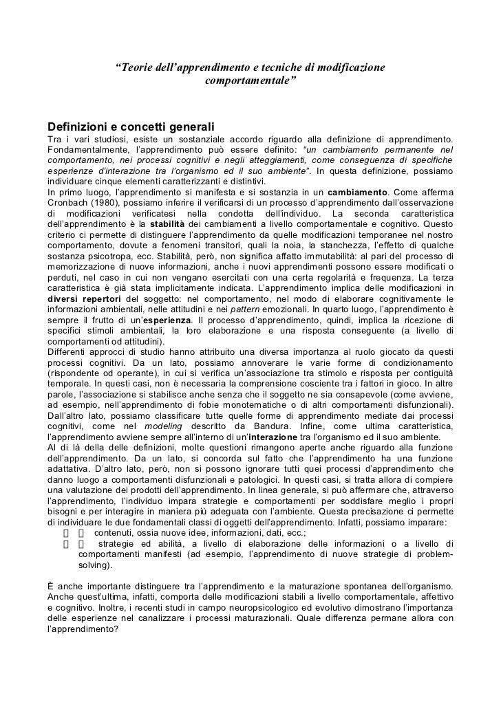 """""""Teorie dell'apprendimento e tecniche di modificazione                                  comportamentale""""Definizioni e conc..."""