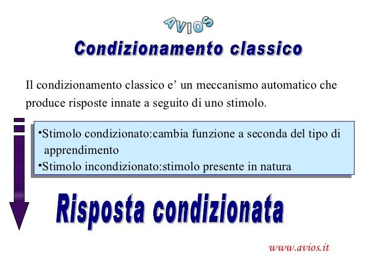 Condizionamento classico Il condizionamento classico e' un meccanismo automatico che produce risposte innate a seguito di ...