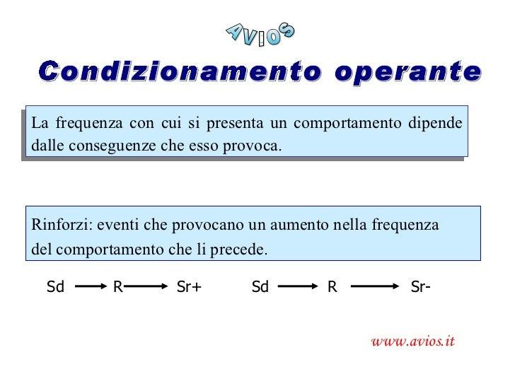 AVIOS www.avios.it Condizionamento operante La frequenza con cui si presenta un comportamento dipende dalle conseguenze ch...