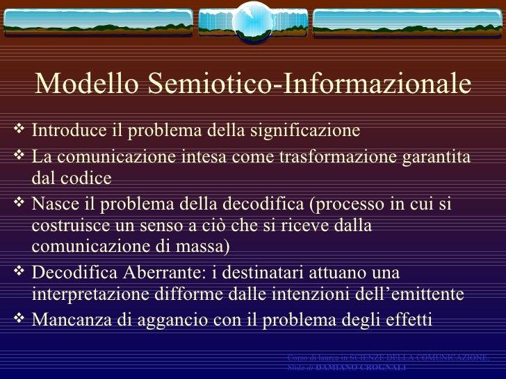Modello Semiotico-Informazionale <ul><li>Introduce il problema della significazione </li></ul><ul><li>La comunicazione int...