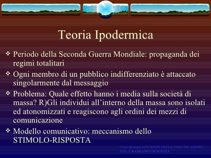 Teoria Ipodermica <ul><li>Periodo della Seconda Guerra Mondiale: propaganda dei regimi totalitari </li></ul><ul><li>Ogni m...