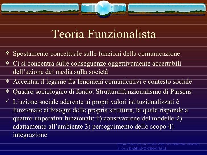 Teoria Funzionalista <ul><li>Spostamento concettuale sulle funzioni della comunicazione </li></ul><ul><li>Ci si concentra ...