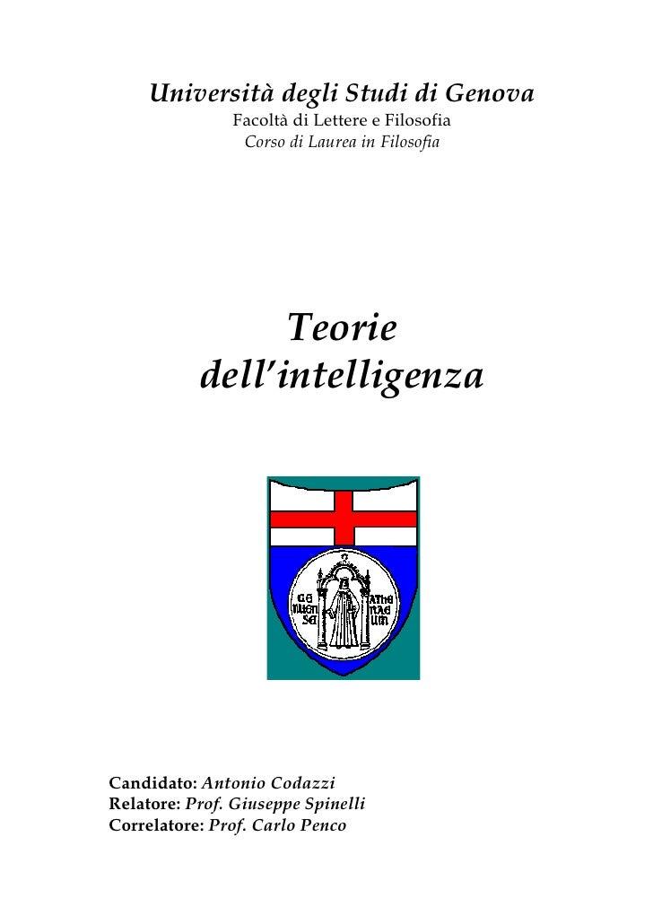 Università degli Studi di Genova                Facoltà di Lettere e Filosofia                 Corso di Laurea in Filosofi...