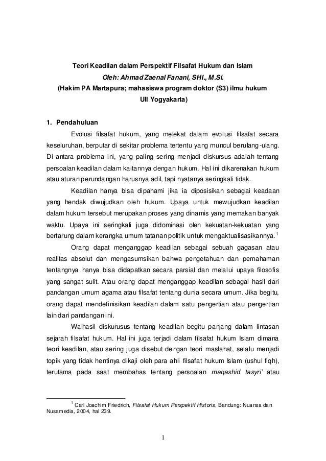 Teori Keadilan Perspektif Filsafat Hukum Islam