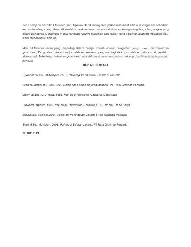 teori operant conditioning skinner pdf