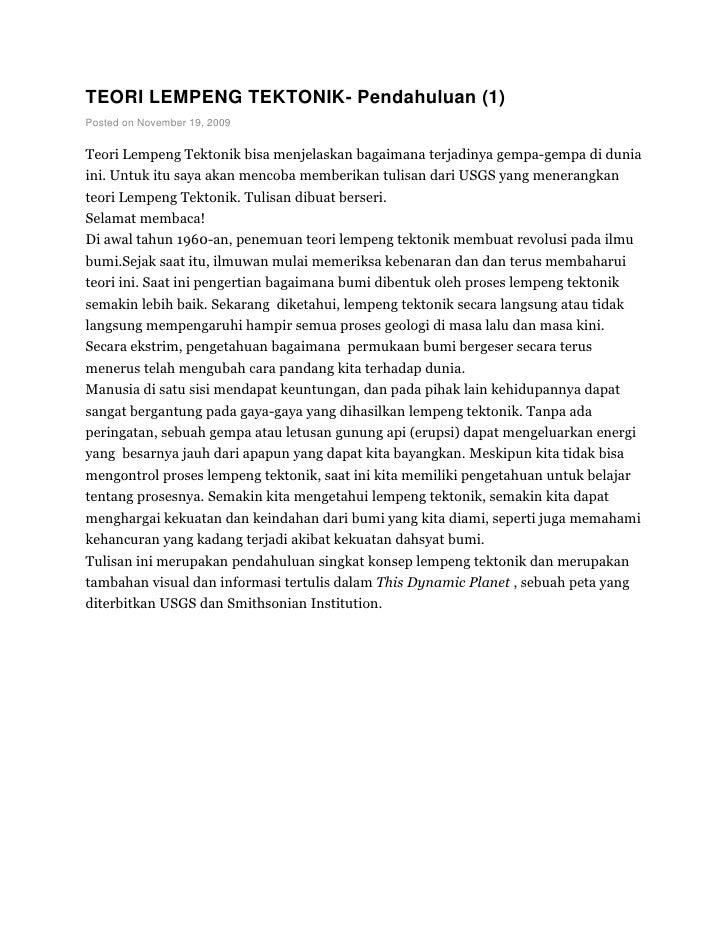 TEORI LEMPENG TEKTONIK- Pendahuluan (1)Posted on November 19, 2009Teori Lempeng Tektonik bisa menjelaskan bagaimana terjad...