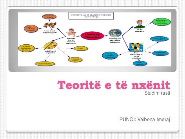 Teoritë e të nxënit                    Studim rasti          PUNOI: Valbona Imeraj