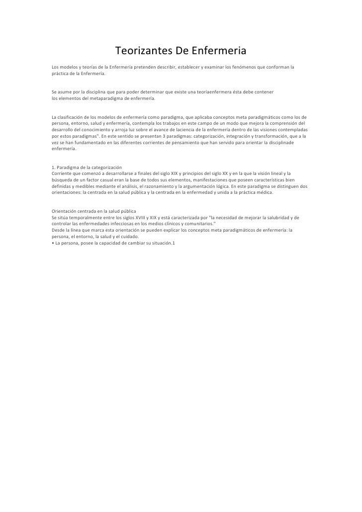 Teorizantes De EnfermeriaLos modelos y teorías de la Enfermería pretenden describir, establecer y examinar los fenómenos q...