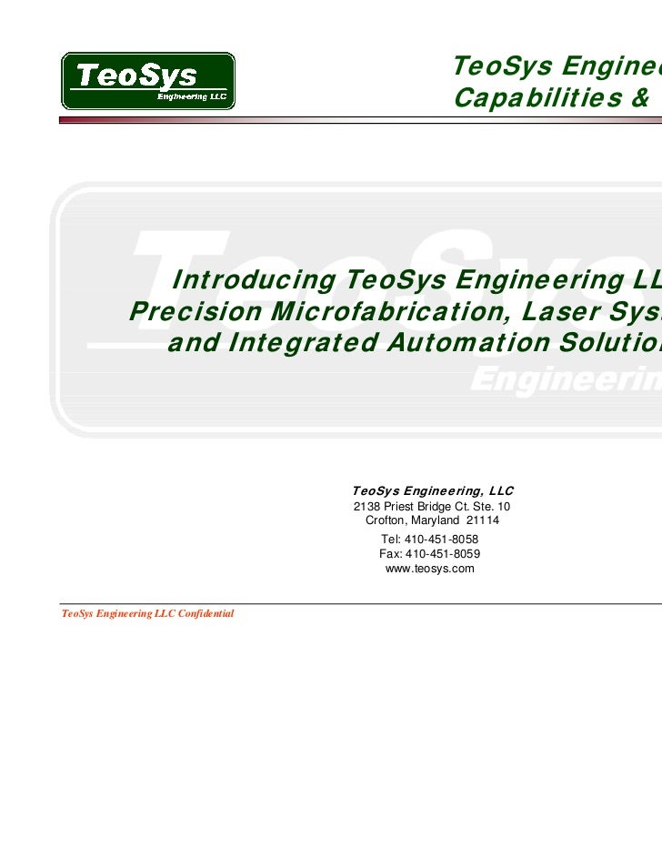 TeoSys Engineering LLC                                                        Capabilities & Products                Intro...