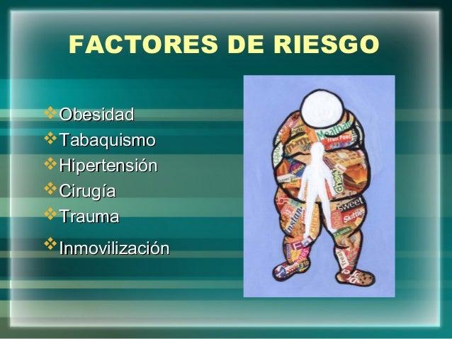 FACTORES DE RIESGOObesidadObesidadTabaquismoTabaquismoHipertensiónHipertensiónCirugíaCirugíaTraumaTraumaInmovilizaci...