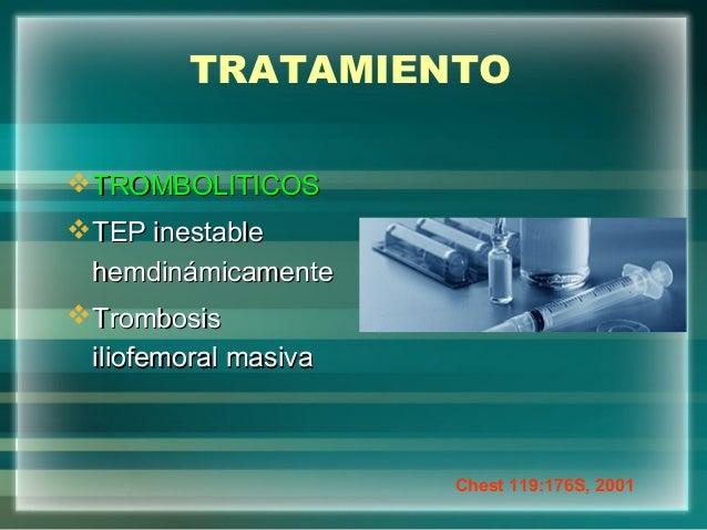 TRATAMIENTOTROMBOLITICOSTROMBOLITICOSTEP inestableTEP inestablehemdinámicamentehemdinámicamenteTrombosisTrombosisiliofe...