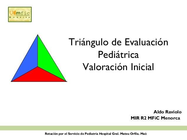 Triángulo de EvaluaciónPediátricaValoración InicialAldo RavioloMIR R2 MFiC MenorcaRotación por el Servicio de Pediatría Ho...