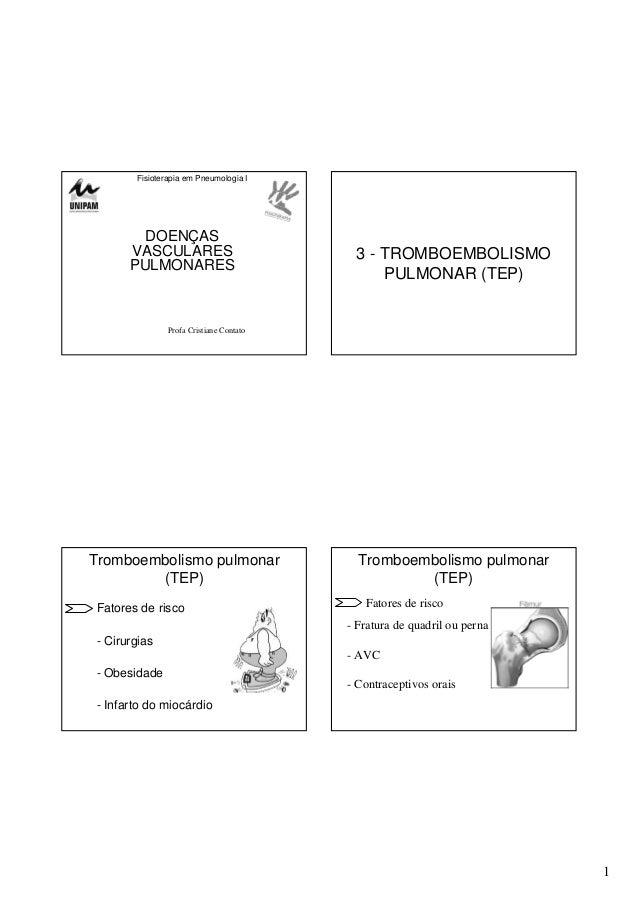 1 Fisioterapia em Pneumologia I DOENÇAS VASCULARES PULMONARES Profa Cristiane Contato 3 - TROMBOEMBOLISMO PULMONAR (TEP) T...