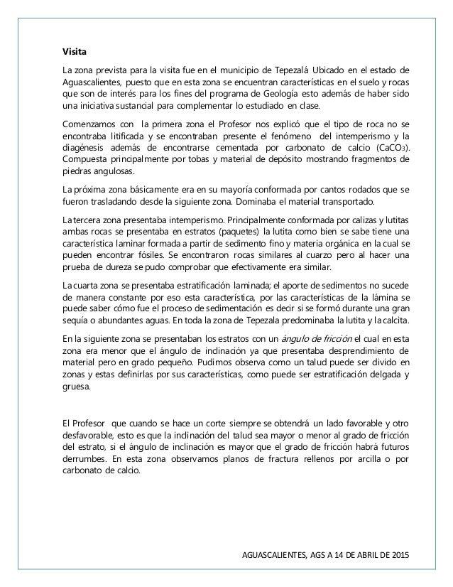 AGUASCALIENTES, AGS A 14 DE ABRIL DE 2015 Visita La zona prevista para la visita fue en el municipio de Tepezalá Ubicado e...