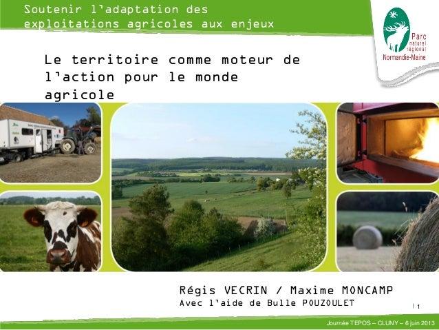 1 Journée TEPOS – CLUNY – 6 juin 2013 Soutenir l'adaptation des exploitations agricoles aux enjeux énergétiques et climati...