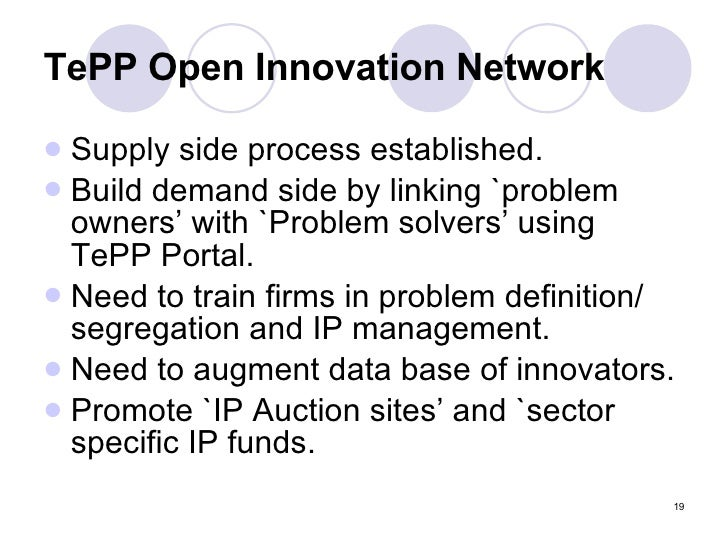 TePP Open Innovation Network <ul><li>Supply side process established. </li></ul><ul><li>Build demand side by linking `prob...