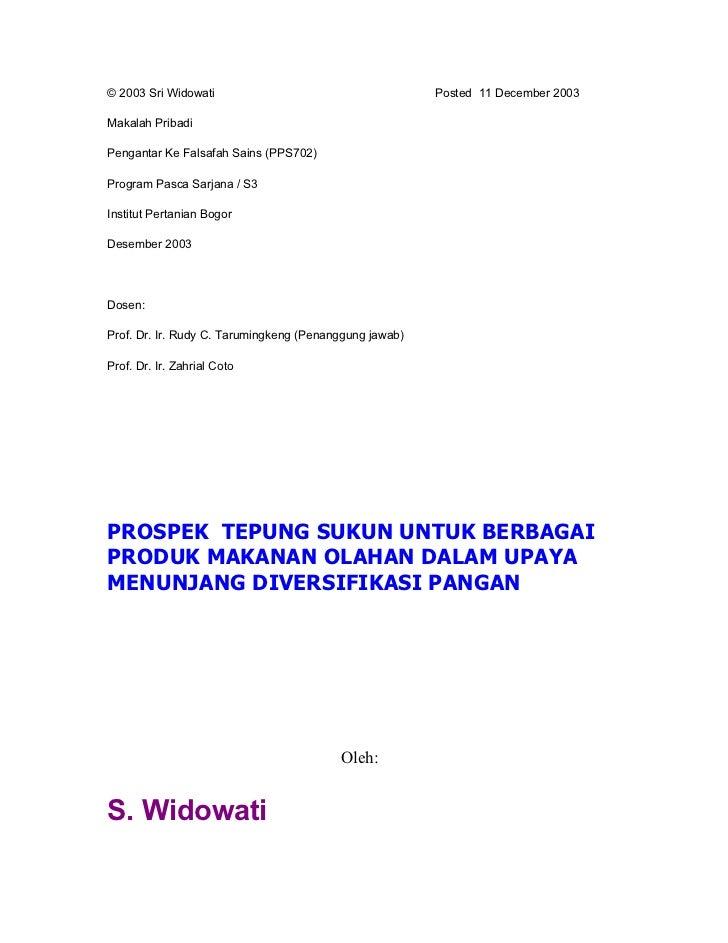 © 2003 Sri Widowati                                     Posted 11 December 2003Makalah PribadiPengantar Ke Falsafah Sains ...