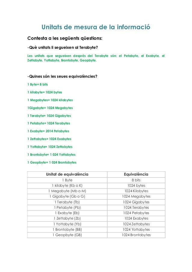Unitats de mesura de la informació Contesta a les següents qüestions: -Què unitats li segueixen al Terabyte? Les unitats q...