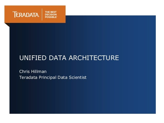 UNIFIED DATA ARCHITECTUREChris HillmanTeradata Principal Data Scientist