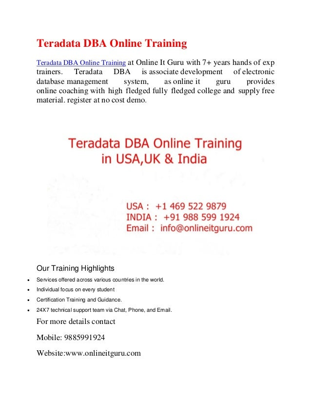 Teradata Dba Online Training