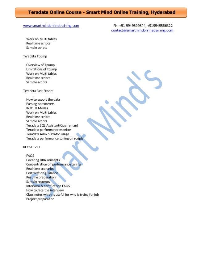 teradata online training course content