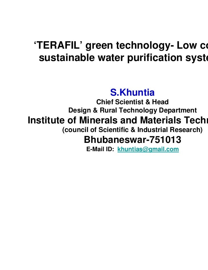 'TERAFIL' green technology- Low cost &  sustainable water purification systems                      S.Khuntia             ...