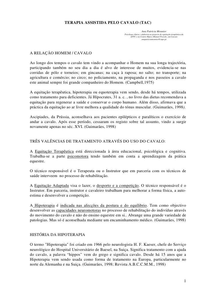 TERAPIA ASSISTIDA PELO CAVALO (TAC)                                                                             Ana Patríc...