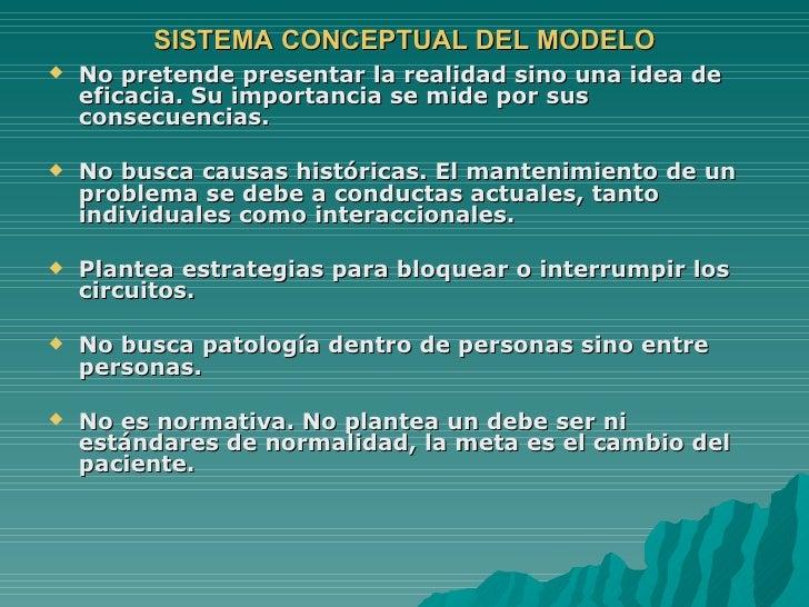 SISTEMA CONCEPTUAL DEL MODELO <ul><li>No pretende presentar la realidad sino una idea de eficacia. Su importancia se mide ...