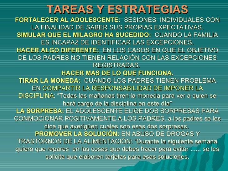 TAREAS Y ESTRATEGIAS FORTALECER AL ADOLESCENTE:   SESIONES  INDIVIDUALES CON LA FINALIDAD DE SABER SUS PROPIAS EXPECTATIVA...