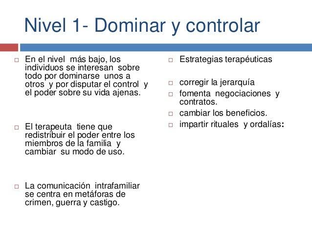 Nivel 1- Dominar y controlar  En el nivel más bajo, los individuos se interesan sobre todo por dominarse unos a otros y p...