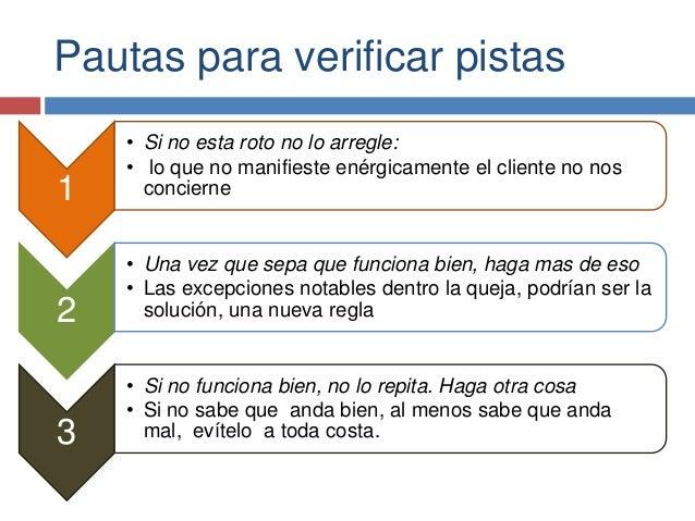 Pautas para verificar pistas 1 • Si no esta roto no lo arregle: • lo que no manifieste enérgicamente el cliente no nos con...