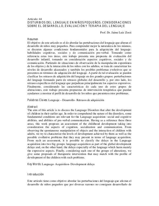 Artículo: 44 DISTURBIOS DEL LENGUAJE EN NIÑOS PEQUEÑOS. CONSIDERACIONES SOBRE EL DESARROLLO, EVALUACIÓN Y TERAPIA DEL LENG...