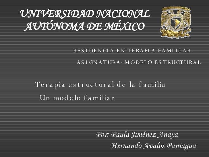 Terapia estructural de la familia UNIVERSIDAD NACIONAL AUTÓNOMA DE MÉXICO RESIDENCIA EN TERAPIA FAMILIAR ASIGNATURA: MODEL...