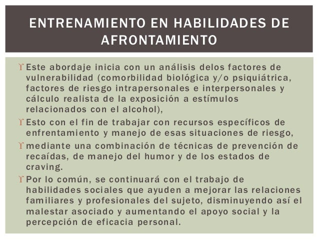  Este abordaje inicia con un análisis delos factores de vulnerabilidad (comorbilidad biológica y/o psiquiátrica, factores...