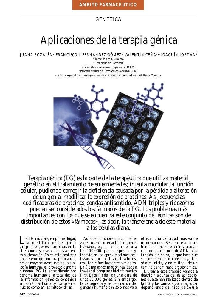 ÁMBITO FARMACÉUTICO                                                      GENÉTICA             Aplicaciones de la terapia g...
