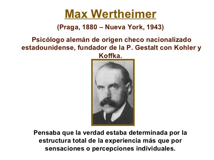 max wertheimer Max wertheimer (april 15, 1880 – october 12, 1943) was an austro-hungarian- born psychologist who was one of the three founders of gestalt psychology, along with kurt koffka and wolfgang köhler he is known for his book, productive thinking, and for conceiving the phi phenomenon as part of his work in gestalt.